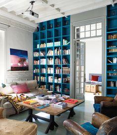 Amazing Bookshelves Design Ideas Living Room – Home Interior and Design Blue Bookshelves, Blue Shelves, Painted Bookshelves, Bookshelf Wall, Painted Shelving, Cube Bookcase, Bookshelf Styling, Bookcase Storage, Media Storage