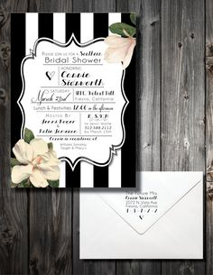 Set of 20 Invites  Southern Themed Black & White by PaperworkEnvy, $32.00