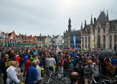 The central square of Brugge is packed before the Tour of Flanders race