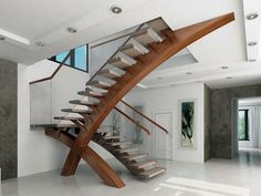 I am loving these very sculputal stairs Modern glass stairs, glass balustrade, modern stairs, custom design Interior Stairs, Interior Architecture, Interior Design, Diy Interior, Stairs Architecture, Interior Modern, Amazing Architecture, Balustrades, Glass Balustrade