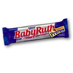 Make your own Baby Ruth Bar  (1 1/3 cups margarine; 2 cups brown sugar; 1/3 cup white corn syrup; 8 cups oatmeal; 2 tsp. vanilla; 1/2 cup peanut butter)  Directions: Melt margarine. Add brown sugar, syrup, peanut butter,  oatmeal and vanilla. Put in 9x13 cake pan. Bake 350 for about 15 minutes.  (For the topping: 6 oz pkg chocolate chips; 1/2 6 oz package butterscotch chips; 2/3 cup peanut butter; 1 cup chopped nuts/peanuts) Melt together and spread on top.