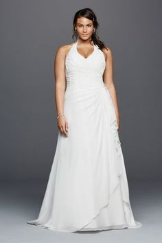 You will feel positively radiant in this halter neck crinkle chiffon wedding dress. Featuring a ruched bodice, side brooch, and draping this figure flattering dress will have you feeling confident and full of class as you embark on your new life with your soul mate.   David's Bridal Woman - Plus Size.  Check your local stores for availability .  Sweep train. Fully lined. Back zipper. Dry Clean only.  Cherish your wedding dress forever with our Gown Preservation Kit.
