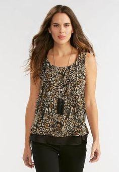 Cato Fashions Leopard Print Double Layer Tank #CatoFashions