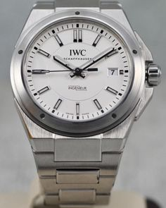 Authentic IWC Schaffhausen Date White Dial Stainless Steel Automatic Mens Watch Cool Watches, Watches For Men, Omega Watch, Stainless Steel, Bracelet, Luxury, Clocks, Deli Food, Men's Watches