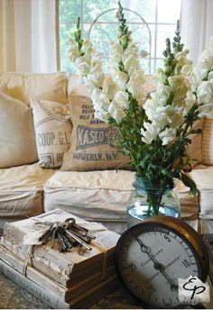 So shabby decor ~ love the toss pillows