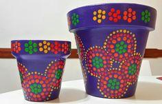 Macetas pintadas a mano. Facebook: A'cha Pots. achapots@hotmail.com - Purple. Violet. Flowerpots.