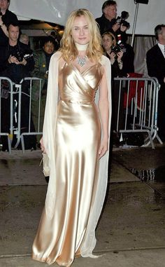 Diane Kruger, 2004 from Met Gala: Best Dressed Stars Silk Satin Dress, Metallic Dress, Satin Dresses, Sexy Dresses, Metallic Clothing, Silk Clothing, Gold Dress, Diane Kruger, Silk Evening Gown