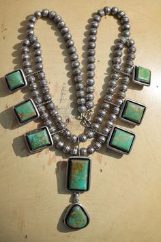Vintage Southwestern Tribal Sterling Silver & Turquoise Bench Bead Necklace