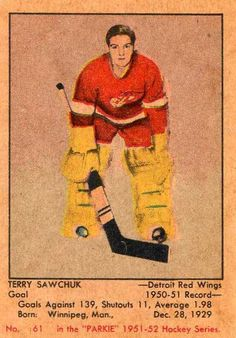 Terry Sawchuck Rookie Card Hockey Goalie, Ice Hockey, Hockey Cards, Baseball Cards, Red Wings Hockey, Detroit Red Wings, 4 Life, Skating, Nhl