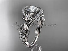 "Platinum flower diamond unique engagement ring with a ""Forever Brilliant"" Moissanite center stone ADLR211"