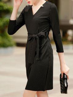 Black V Neck Vertical Striped Belt Dress -SheIn(abaday)