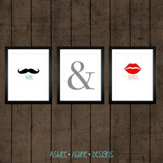 Mustache and Lips Print Set - Mr. & Mrs. 8x10 Wall Art Set. $35.00, via Etsy.