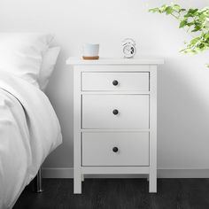 IKEA - HEMNES, chest, white stain, Of course your home should be a safe place for the entire family. That's why hardware is included so that you can attach the chest of drawers to the wall. Coordinates with other furniture in the HEMNES series. Ikea Nightstand, White Nightstand, Ikea Hemnes Nightstand, Bedside Tables, Nightstands, Ikea Canada, 3 Drawer Chest, Ikea Hemnes Chest Of Drawers, Drawer Unit