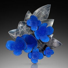 Wendy McAllister, Blue Leaf, Brooch/Pendant, Vitreous enamel, copper, sterling, patina