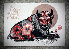 """David Hale Artwork """"Buffalo"""" Screen Print Size: x Deer Tattoo, Raven Tattoo, Fox Tattoos, Tree Tattoos, Tattoo Ink, Arm Tattoo, Hand Tattoos, Tatoos, Japanese Sleeve Tattoos"""