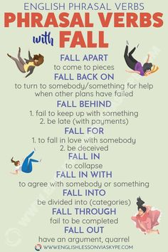 English Phrasal Verbs with FALL with meanings and examples. Teaching English Grammar, English Writing Skills, English Vocabulary Words, English Language Learning, German Language, Japanese Language, Teaching Spanish, Spanish Language, French Language