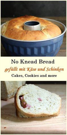 No Knead Bread - Toastbrot gefüllt mit Schinken und Käse
