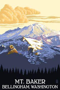 Mt. Baker, Washington - Lantern Press Washington Art, Bellingham Washington, Forest Art, Stock Art, Vintage Travel Posters, Poster Vintage, Vintage Art, Vintage Signs, Antique Maps