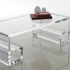 By H studio-greco acrylic coffee table/ contemporary greek inspired furniture with geometrical patterns folding in base to create symmetry. Lucite Furniture, Acrylic Furniture, Furniture Decor, Furniture Design, Cantoni Furniture, Lucite Coffee Tables, Lucite Table, Bed Platform, Plexiglass