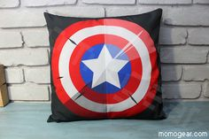 Captain America Shield Decorative Pillow Cover by MomoGearShop