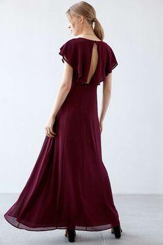 Kimchi Blue Lace-Up Flutter-Sleeve Maxi Dress