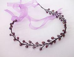 25.00$  Buy here - http://vibks.justgood.pw/vig/item.php?t=cjxernv5621 - Purple and black jeweled headband, purple hair chain, crystal headband, formal 25.00$
