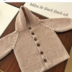 Ravelry: Project Gallery for L Knitted Baby Cardigan, Knit Baby Sweaters, Boys Sweaters, Easy Crochet Hat, Crochet Baby, Diy Vintage, Baby Coat, Sweater Making, Jacket Pattern