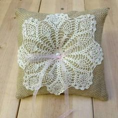 Doilies and burlap Doilies Crafts, Burlap Crafts, Lace Doilies, Floral Pillows, Diy Pillows, Decorative Pillows, Throw Pillows, Crochet Cushions, Crochet Pillow