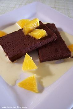Chocolate terrine with orange crème anglaise