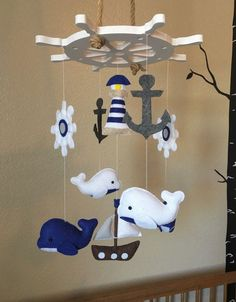 Baby mobile nautical mobile whale mobile von JuniperStreetDesigns