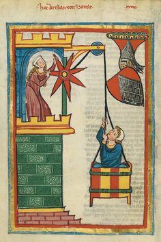 """""""Codex Manesse"""" 71v, Kristan of Hamle (medieval lovers, pulled in a basket), c. 1305-15"""