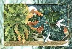 oak and holly kings yule card