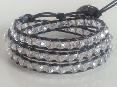 Triple Wrap Crystal Faceted Leather Bracelet by Lauralynnmichelle