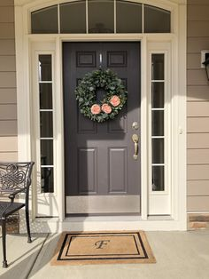 Brick House Exterior Discover Spring Wreath For Front Door Easter Wreath Garden Rose Wreath Farmhouse Style Mothers Day Housewarming Gift Exterior Door Colors, Front Door Paint Colors, Painted Front Doors, Front Door Decor, Exterior Doors, Beige House Exterior, Front Porch, Paint For Front Door, Entry Doors