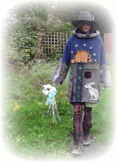HARDEN * Folk Woodland Sunrise Hare Mushroom Jumper Sweater Dress Snood Hood with Buttons ReCyCleD UpCyCleD Wearable Art Size: Medium/Large