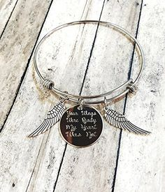 Your Wings Were Ready My Heart Was Not Charm Bracelet Memorial Gift Loss of Loved One Wings with Heart Grief Jewelry ** Click image for more details.Note:It is affiliate link to Amazon.
