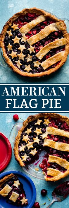 How to create a beautiful American Flag Pie for 4th of July dessert! Recipe on sallysbakingaddiction.com