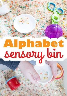 How to create a fun alphabet sensory bin for your toddlers,  preschoolers and kindergartners! All you'll need is alphabet pasta and rice (along with fun sensory bin tools) to make this educational kids activity! Try this awesome alphabet sensory bin with your kids today! #alphabet #sensory #preschool #learning #kidsactivities #toddler Educational Activities For Kids, Motor Activities, Sensory Activities, Hands On Activities, Infant Activities, Spring Activities, Therapy Activities, Play Based Learning, Learning The Alphabet