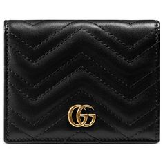 Gucci Gg Marmont Card Case ($285) ❤ liked on Polyvore featuring bags, wallets, accessories, black, women, leather card holder wallet, genuine leather bags, leather bags, leather pocket wallet and pocket wallet