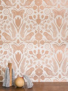 Juju Paper and Carson Ellis Collaboration :: Barn Owls and Hollyhocks in Rose Gold on Cream