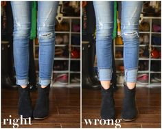 The Dos and Don'ts of Cuffing Your Jeans with Ankle Boots (Part 3) - for dipped front ankle boots!
