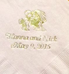 Bride and groom and name and date. Variety of color and design choices. #itsallinthedetails www.napkinspersonalized.com