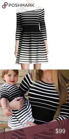Milly degrade black stripe sweater dress so P Worn once for a mommy and me photo shoot , in great shape . I just need closet space . It's a size p , I'm a size 4 and fits me perfectly. It's soft and stretchy . Been dry cleaned Milly Dresses Mini