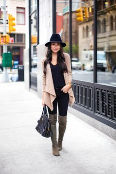 Cashmere cardigan, skinny jeans, over the knee boots