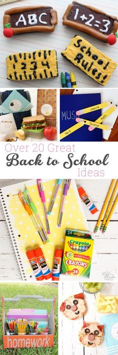 Great Back to School ideas. There are over 20 ideas to get the kids and myself ready. Ideas are for DIY, Organization, lunches, and crafts. Fun!