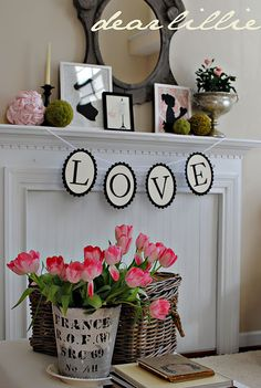 Simplistic Valentines Mantel...or everyday! Could make the LOVE sign and put out by guestbook-also add the moss balls in the decor?