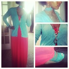 #OOTD: London Times coral maxi dress from Marshall's, Old Navy inside out aqua cardigan, Dolce Vita teal braided criss cross strapped espadrille wedges, gold and turquoise spike earrings, BR necklace, horn bangles.