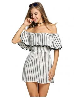 Fashion Slash Neck Women Dress Summer Summer Style Off Shoulder Sexy Dresses vestidos Striped Beach Mini Dress Sexy Dresses, Cute Dresses, Casual Dresses, Short Dresses, Casual Outfits, Fashion Dresses, Cheap Dresses, Casual Ootd, Glam Dresses