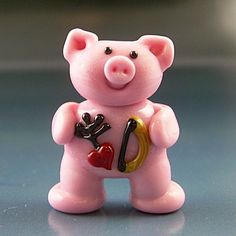 CUPIG Cupid Pig Valentines Day Handmade Lampwork Glass Focal Bead SRA Gelly
