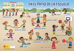 Spanish for kids: En el patio de la escuela. Good as a discussion prompt or for teaching specific Spanish vocabulary and Spanish verbs.